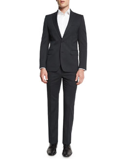 Pinstripe Two-Piece Wool Suit, Charcoal