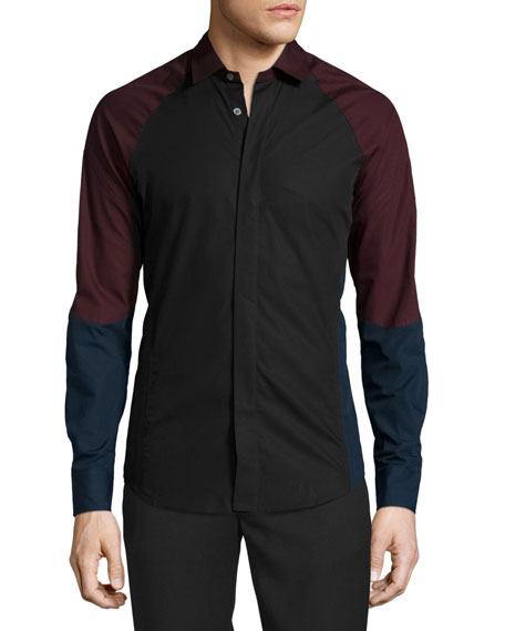 Ergo Colorblock Woven Dress Shirt, Black/Multi