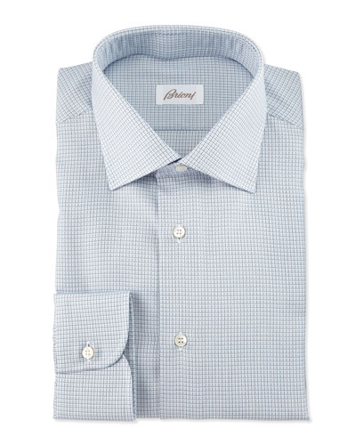 Textured-Check Long-Sleeve Sport Shirt, Light Blue