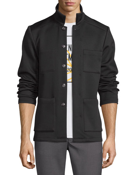 Flip Spoke Button-Front Jacket, Black