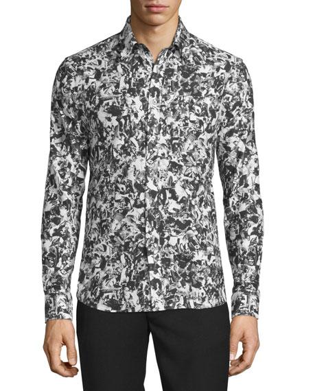 Collage-Print Woven Dress Shirt, Black/Multi