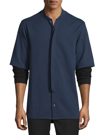 Double-Layer Pique Shirt, Midnight Navy