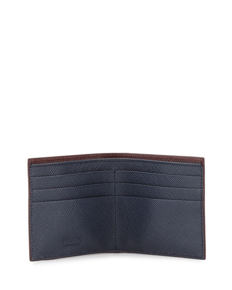 Saffiano Leather Corner-Logo Wallet