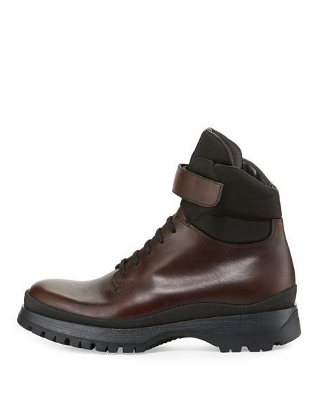 Calf Leather Lace-Up Boot, Brown