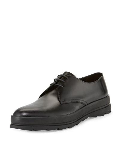 Leather Plain-Toe Derby Shoe, Black