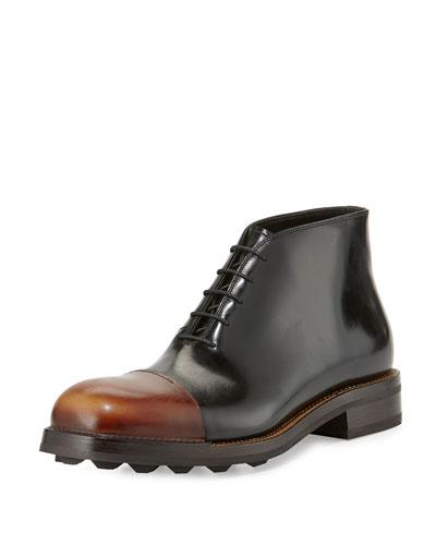 Runway Leather Brushed Cap-Toe Chukka Boot, Black/Brown
