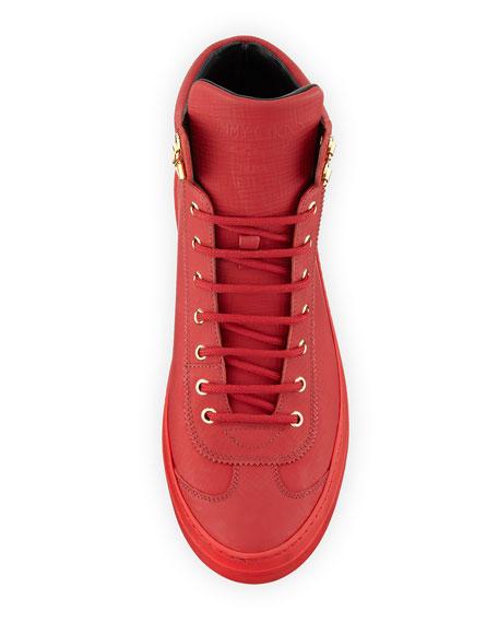 Argyle Men's Textured Leather High-Top Sneaker