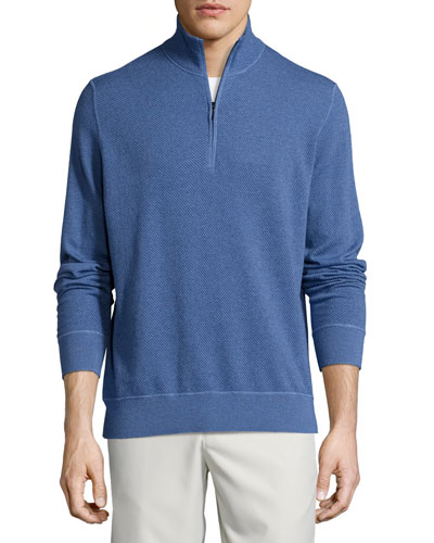 Roadster Half-Zip Cashmere Sweater, Light Blue River