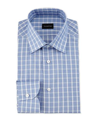 Textured Box-Check Dress Shirt, Blue
