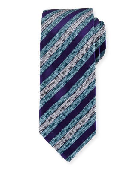 Brioni Woven Heathered-Stripe Silk Tie