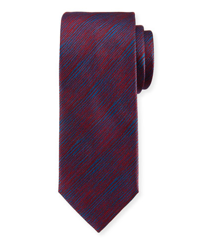 Striated Woven Silk Tie, Red