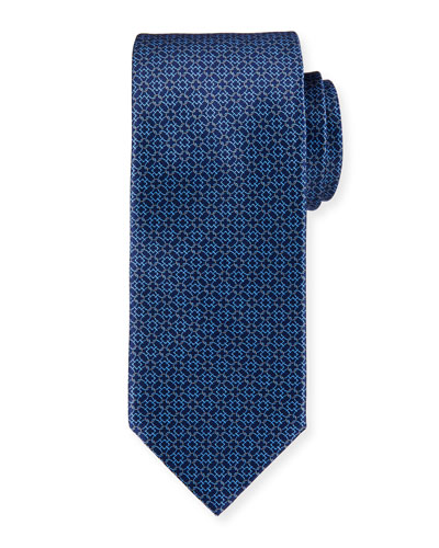 Circle-Link Printed Silk Tie