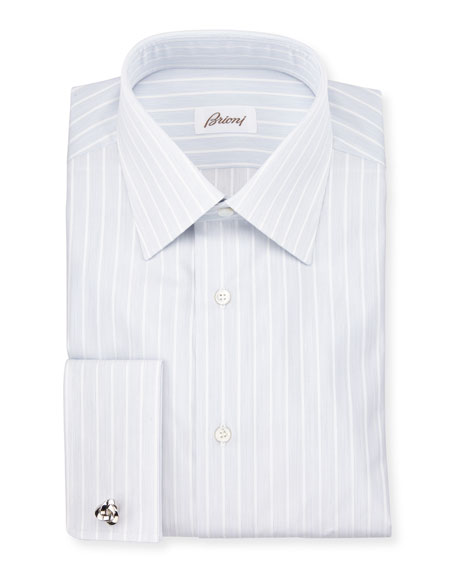 Brioni Satin-Stripe French-Cuff Dress Shirt, White