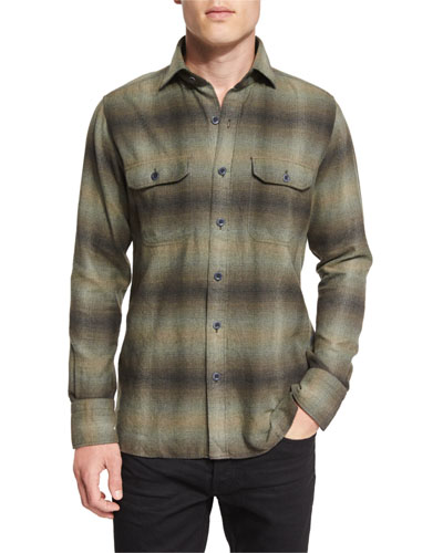 Exploded Plaid Flannel Sport Shirt, Olive