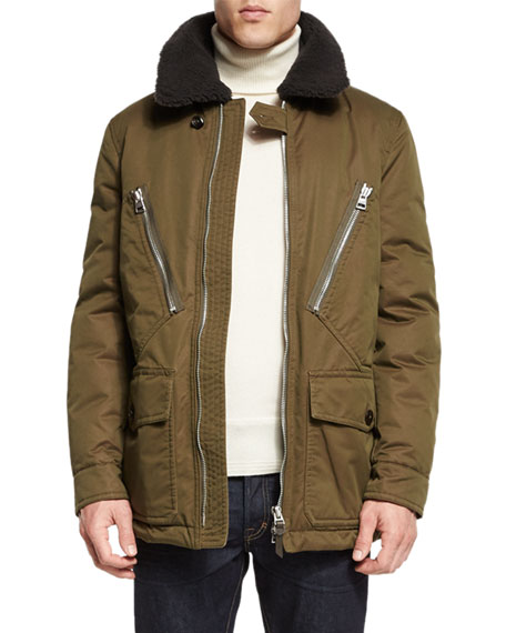 Down-Filled Field Coat w/Shearling Collar