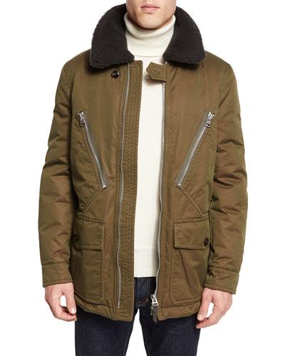 Down-Filled Field Coat w/Shearling Collar