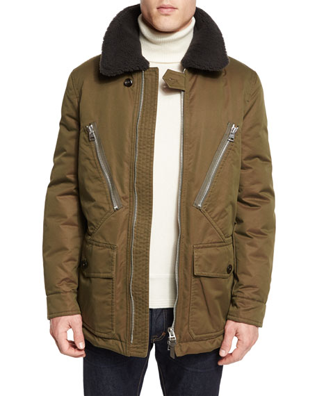 TOM FORD Down-Filled Field Coat w/Shearling Collar
