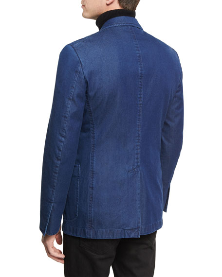 Washed Denim Peak-Lapel Sport Jacket, Dark Indigo