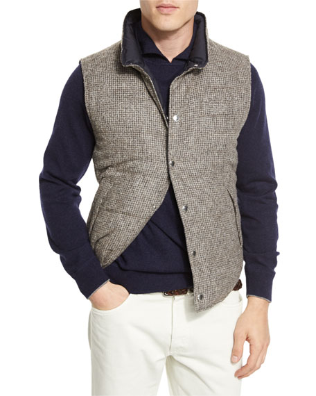 Reversible Quilted Tweed Vest, Chestnut