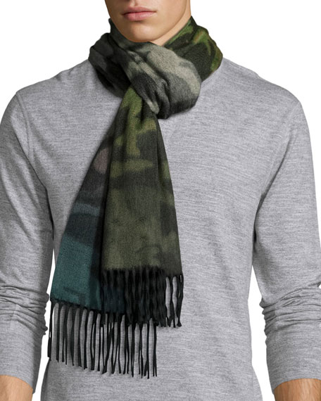 Nuance Camouflage Cashmere Scarf w/Fringe, Green