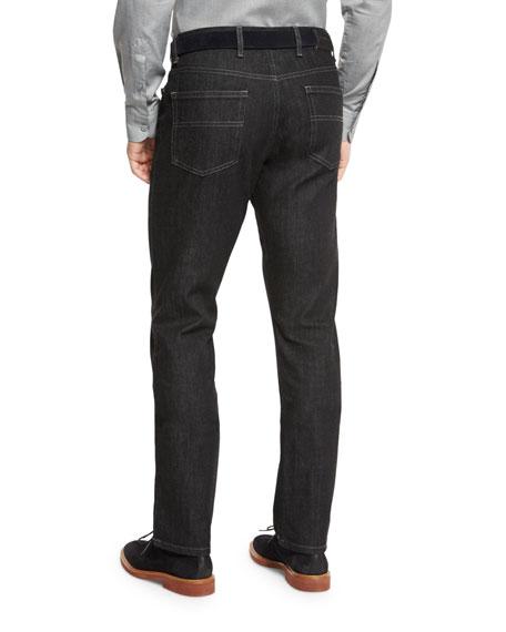 Five-Pocket Stretch-Denim Jeans, Black