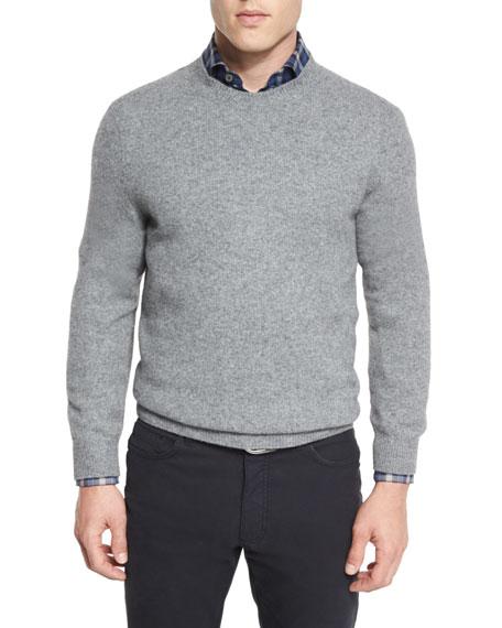 Seamless Yak Crewneck Sweater, Gray