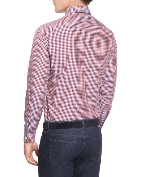 Check Long-Sleeve Sport Shirt, Red
