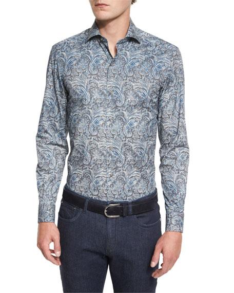 Paisley-Print Long-Sleeve Sport Shirt, Teal