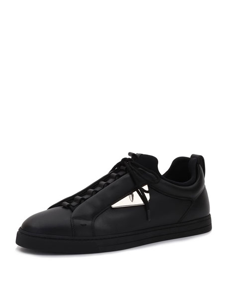 Fendi Monster Leather Low-Top Sneaker, Black