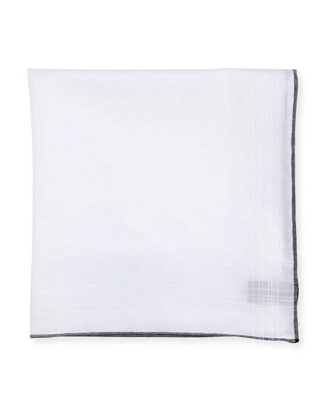 Solid Linen-Cotton Pocket Square, White