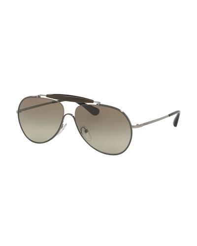 Metal & Enamel Aviator Sunglasses, Gray