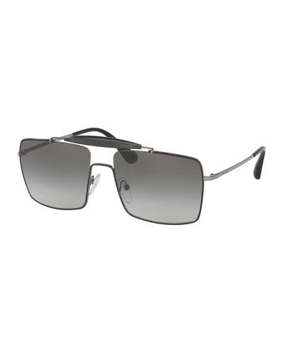 Metal & Enamel Square Sunglasses, Black