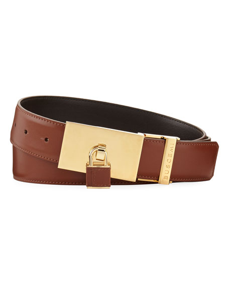 Padlock-Buckle Leather Belt, Whiskey