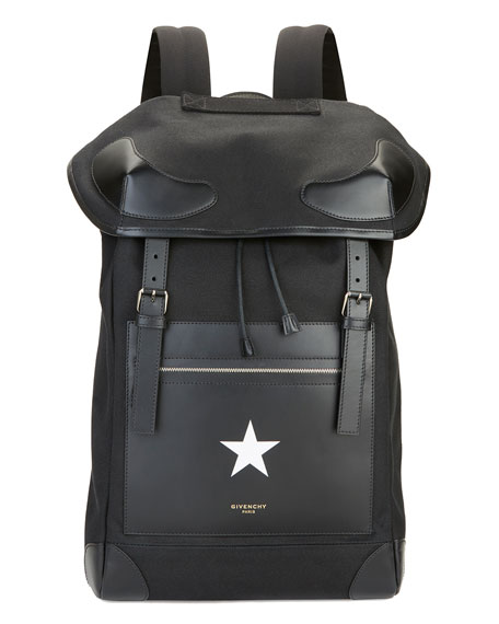 Men's Canvas and Leather Star Backpack, Black