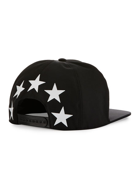 Flat Flat-Bill Star Hat, Black