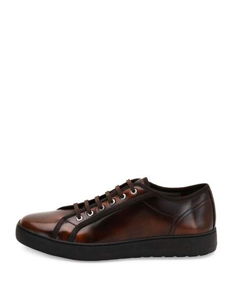Burnished Calfskin Low-Top Sneaker, Brown