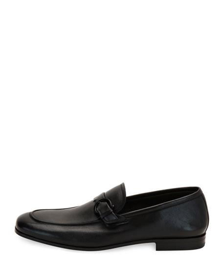 Soft Calfskin Side-Gancio Loafer, Black