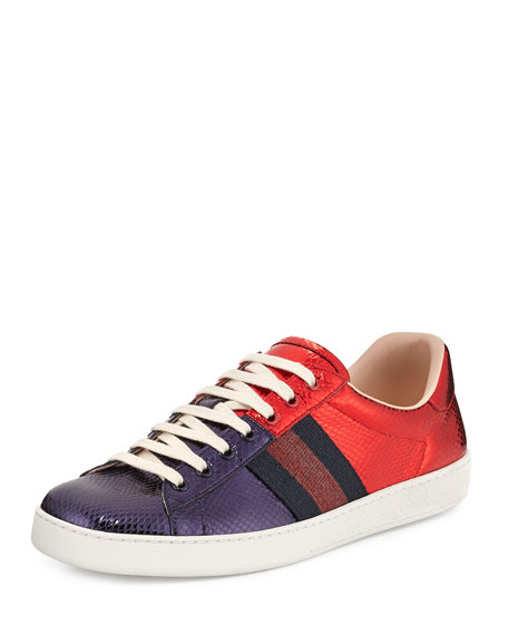 New Ace Snakeskin Low-Top Sneaker, Red/Blue