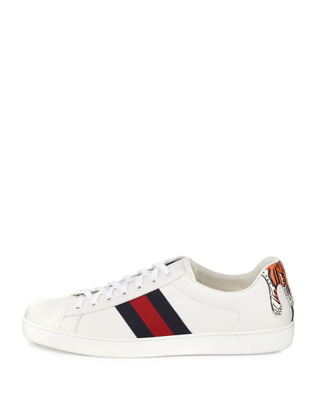 eab2edb8 New Ace Hanging Tiger Leather Low-Top Sneaker White