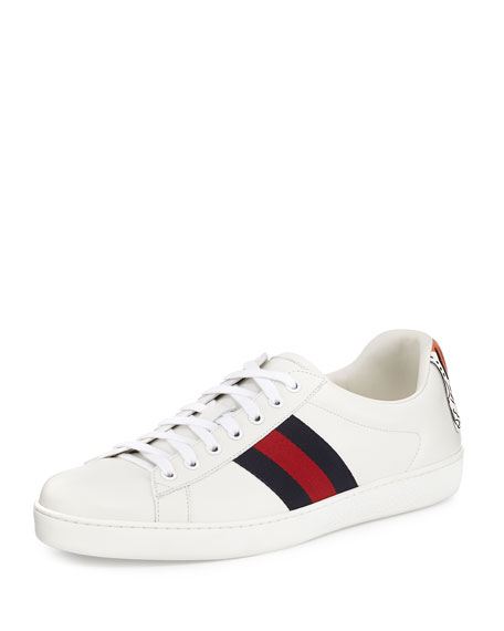 New Ace Hanging Tiger Leather Low-Top Sneaker, White