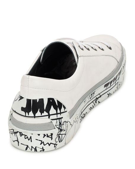 Leather Graffiti-Sole Derby Sneaker, White