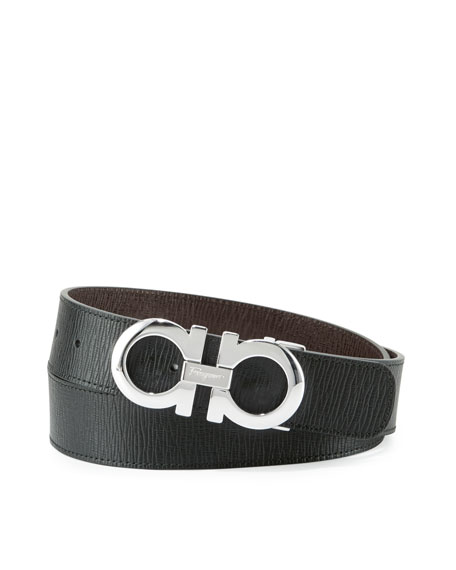 Reversible Saffiano Gancini Buckle Belt, Black/Hickory