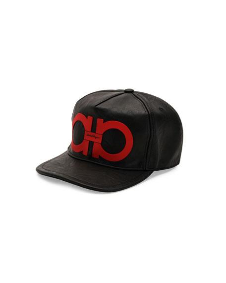 Gancini Vegan-Leather Baseball Cap, Black/Red