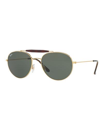 RB3540 Highstreet Aviator Sunglasses, Gold/Green