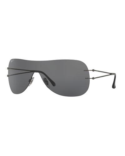 Tech Light Ray Polarized Mask Sunglasses, Gunmetal
