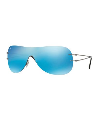 Tech Light Ray Flash Mask Sunglasses, Gunmetal/Blue