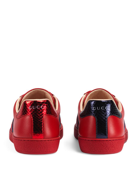 Men's New Ace Embroidered Low-Top Sneakers, Red