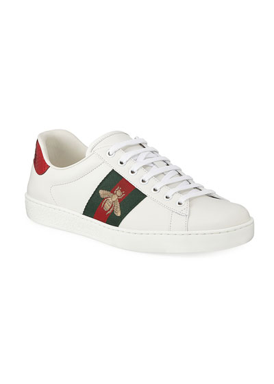Men's New Ace Embroidered Low-Top Sneakers  Red
