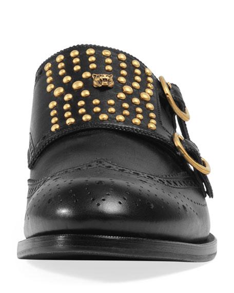 Queercore Brogue Monk Shoe, Black
