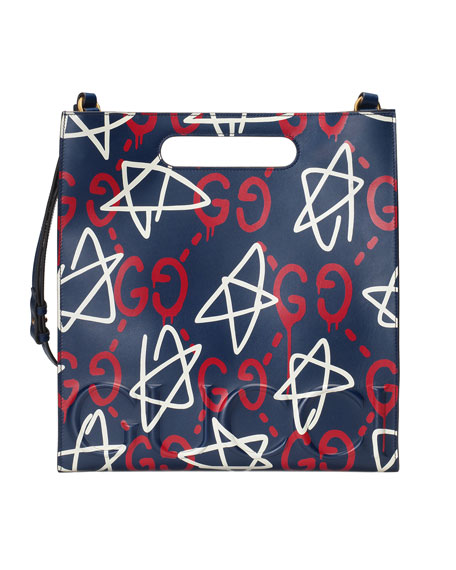 GucciGhost Small Leather Tote Bag, Blue/Red